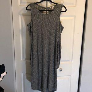 Grey Cold Shoulder Sweater Dress